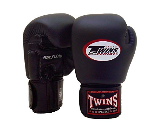 Twins Special Muay Thai Boxing Gloves BGVLA 2 Air Flow Gloves. Univesal Gloves for Training or Sparring. (Black, 16 oz)