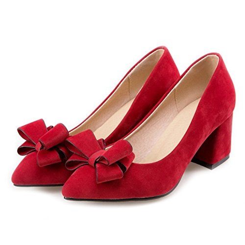 SJJH Chunky Heel Court Shoes with Large Size and Cute Bowtie Women Shoes with Suede Materail Red NiMFthQ