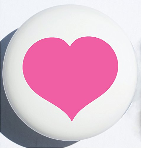 Single Hot Pink Heart Drawer Knob Pulls in Your Choice of Several Colors, Ceramic Cabinet Dresser Handles for Children