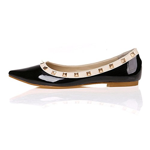 Flats Rivets Women's Ballet 1 Studded Shoes black Jessi Toe Pointed Maiernisi 40qUp