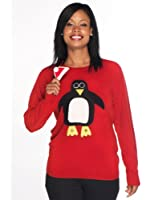 Woolly Babs Ladies Christmas Jumper Pablo Penguin