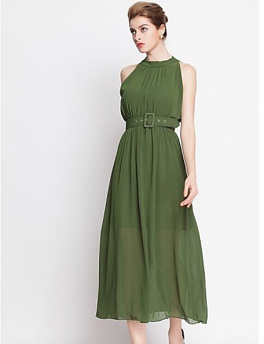 PU&PU Robe Aux femmes Gaine / Swing Street Chic,Couleur Pleine Licou Midi Polyester , army green-one-size , army green-one-size
