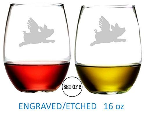Flying Pig Stemless Wine Glasses Etched Engraved Perfect Fun Handmade Gifts for Everyone Set of - Set Gift Pigs