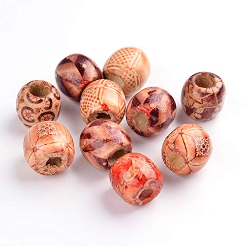 Kissitty 200pcs Mixed Painted Large Wood Beads Column Round Wooden Ball Spacer Loose Beads 16mm Thick for DIY Craft Jewelry Making ()