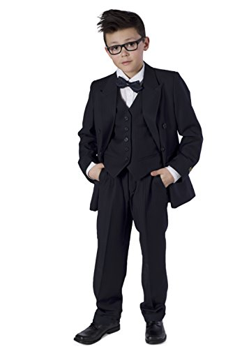 Double Breasted Striped Suit (Azzurro 3 pc Kids Boys Double Breasted Striped Suit Navy 10)