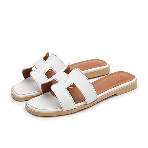 MEIREN H-Classic Leather Slippers at The end of European and American Women's Shoes, White, US6.5-7/EU37/UK4.5-5/CN/37