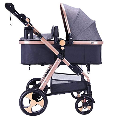 - LQRYJDZ Portable Safe Folding 3 in 1 Stroller Stroller for Newborn and Toddler - Newborn Folding Convertible Carriage Luxury Bassinet Seat Infant Explosion-Proof Wheel (Color : Dark Gray)