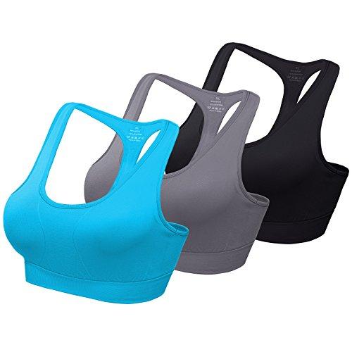 Mirity Women's Racerback Sports Bra - High Impact Workout Gym Activewear Bras Color BGB Size XL