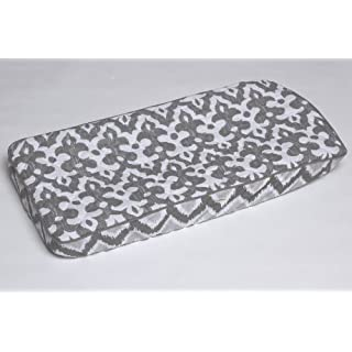 Bacati Ikat Zigzag Grey Muslin Quilted Changing Pad Cover