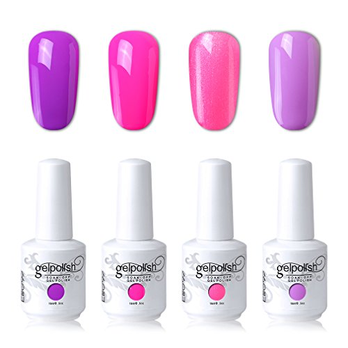 Elite99 Soak Off Gel Polish Lacquer UV LED Nail Art Manicure Kit 4 Colors Set LM-C141 + Free Gift (20pcs Gel Remover Wraps)