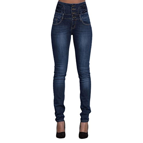 Dark Single Skinny breasted Pencil Slimming Casual Lifting Solid Zhhlaixing Blue Women Color Pants for Curve Jeans Butt ZEfHFqA
