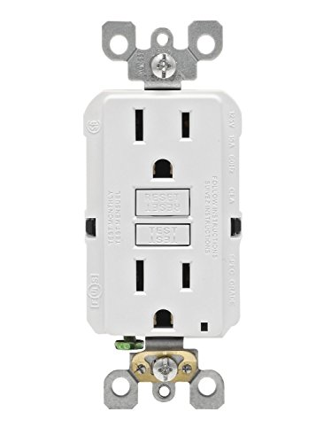 Leviton GFNT1-W Self-test SmartlockPro Slim GFCI Non-Tamper-Resistant Receptacle with LED Indicator, 15-Amp, White - Gfci Gfi Outlet Receptacle