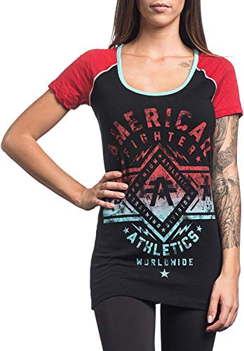 - Bendu American Fighter Womens Santa Clara Raglan Fashion T-Shirt Black/Crimson Red