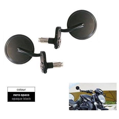 Negro mate Par Espejos para moto Cafe Race Casquillo ajustable Moto de diámetro 18 y de diámetro 22: Amazon.es: Coche y moto