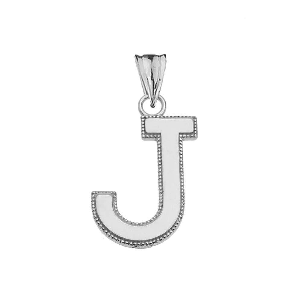 Elegant 14k White Gold Personalized Milgrain Initial A-Z Charm Pendant
