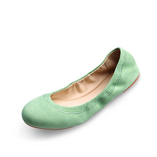 - Women's Chaste Ballet Flat Lambskin Loafers Casual Ladies Shoes Leather Green 9