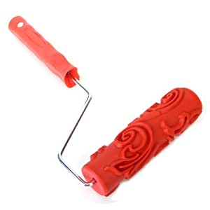 """Sonline 7"""" DIY Floral-and-Dot Pattern Paint Roller for Wall Decoration w/ Handle"""