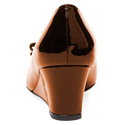 Fsj Donne Carino Bowknot Pompe A Punta Tacco A Zeppa Slip On Formale Formale Scarpe Da Sposa Taglia 4-15 Us Bronzo