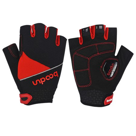 Mens Outdoor Bicycle Cycling Riding Half Finger Gloves Silicone Shock-absorbing Non-Slip Gel Pad Gloves Mountain MTB Road Bike Racing(Red) (L) ()