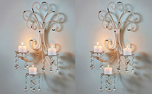 Set of 2 Wall Chandelier Candle Holder Sconce Shabby Chic Elegant Scrollwork Decorative Metal Vintage Style Decorative Home Accent -