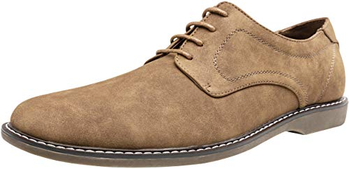 JOUSEN Men's Oxford Shoes Suede Plain Toe Dress Casual Shoes (14,Brown-c)
