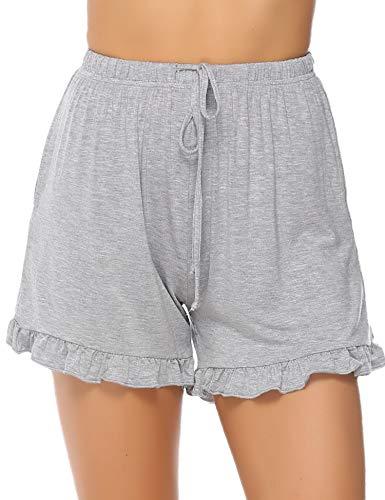 (Hawiton 1 & 2 PCS Women Striped Cotton Sleeping Pajama Bottoms Exercise Fitness Shorts)
