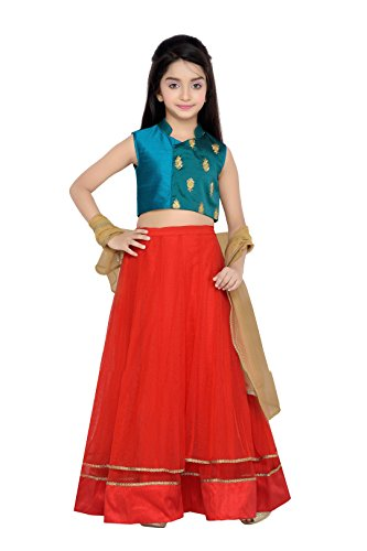 K&U Girls' Green and Red Taffeta & Net Lehenga Choli