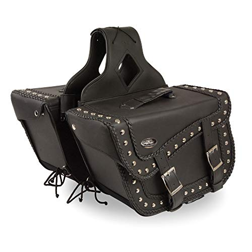 - Milwaukee Performance SH66401ZB Black Large Braided Zip-Off PVC Throw Over Saddle Bag with Studs