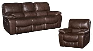 Dorel Asia 2-Piece Leather Motion Sofa Set, Brown