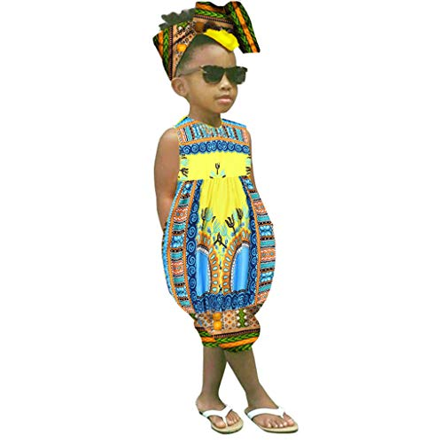 WOCACHI Toddler Kids Baby Girls Outfits Clothes African Boho Printed Sleeveless Romper Jumpsuit 2019 New Under 10 Dollars (Infant Baby Fleece Bubble Romper)