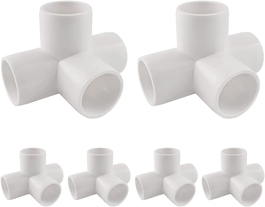 MARRTEUM 3/4 Inch 4 Way PVC Fitting Pipe Corner Elbow for Greenhouse Shed / Garden Support Structure / Storage Frame, Furniture Build Grade SCH40 [Pack of 6]