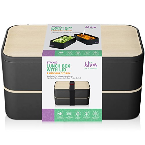 Blüm Collections Slim Stacked Lunch Box with Lid with 3 leak Proof Compartments