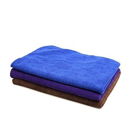 eDealMax 3pcs 300GSM 65 x 33cm Toalla Azul púrpura del Color del café multifuncional de limpieza