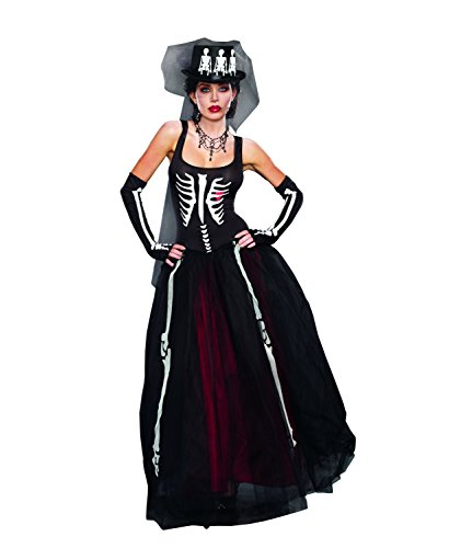 Dreamgirl Women's Ms. Bones Zombie Bride Costume, Black, Large