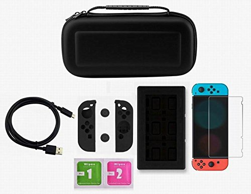 AMAGLE Carrying Case Bundle Aceessories Starter Kit for Nintendo Switch Black – Nintendo Switch NOT INCLUDED