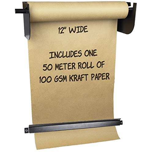 Wall Mounted Kraft Paper Dispenser & Cutter: Includes 50 Meter Long Kraft Paper Roll - Perfect for To-Do Lists, Daily Specials, Menus and other Note Taking (12 Inches Wide)