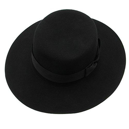 Bigood Vintage Hard Felt Wool Hat Ribbon Bowknot Flat Top Rocker Fedora Cap ()