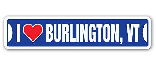 I Love Burlington Vermont Street Sign Vt City State Us Wall Road Gift 2PCS (Party Supplies Burlington)