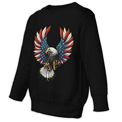 (Toddler Juvenile Sweatshirt Screaming American Flag Bald Eagle Children Pullover Hoodie)