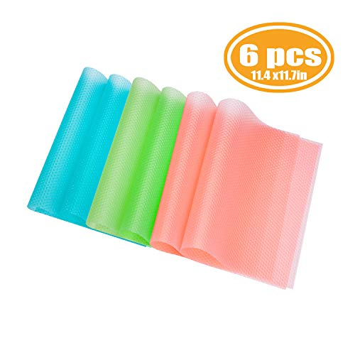 PABUSIOR Refrigerator Liners Mats Transparent 6 Pack, EVA 11.4x17.7 Can Be Cut Refrigerator Pads, Fridge Liner for Kitchens Storage, Washable (2 Blue/2 Green/2 Pink)