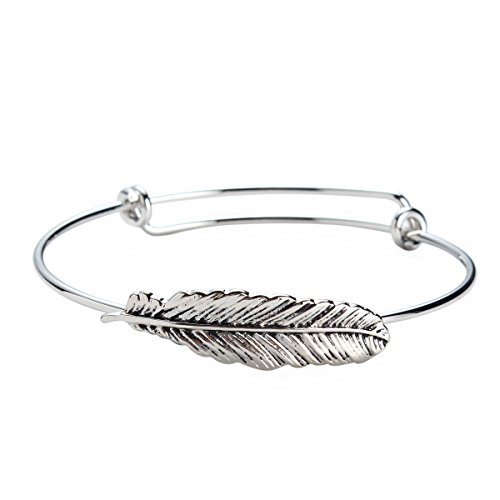 (Feather Bangle Bracelet for Women Girl Plated Silver Jewelry Gift)
