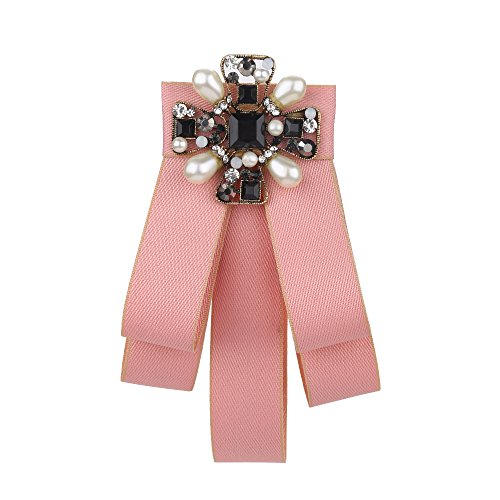 Sunvy Lady Bow Tie Women Fashion Vintage Bow Brooch Pin Crystal For Women (Pink)