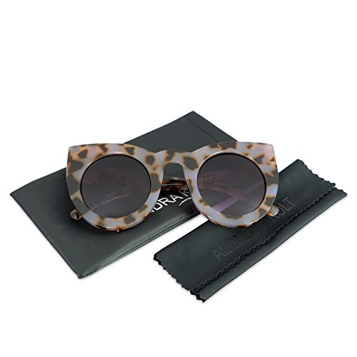 Alondra Kolt The Famous Cat Eye Round Sunglasses (Violet Cheetah / Deep Blue - Sun Glasses Over Shades