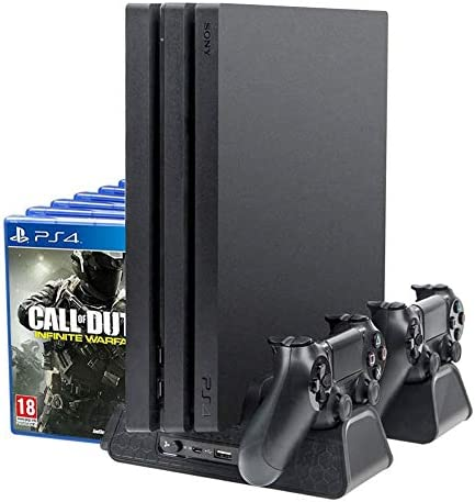 ElecGear PlayStation 4 Verticale Standaard en Koelventilator Dubbel Laadstation voor DualShock 4 Controller Laadstation met 4x mini Adapter 12x Gamesopslagbeugel voor PS4 PS4 Pro en PS4 Slim
