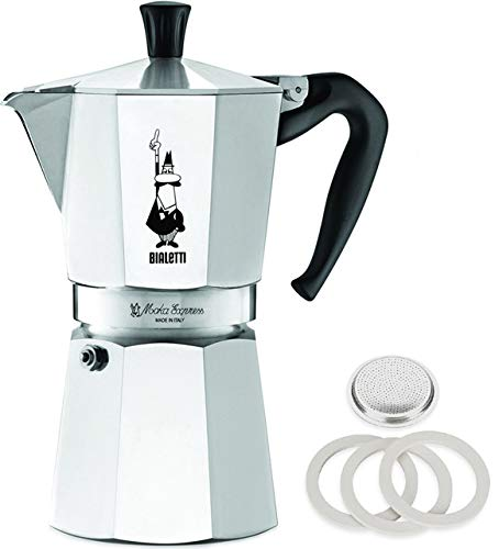 (Bialetti Moka Express Aluminum 9 Cup Stove-top Espresso Maker with Replacement Filter and Gaskets)