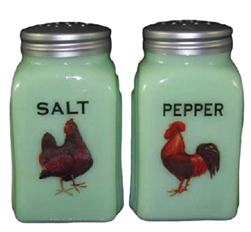 en Glass Rooster & Hen Roman Arch Jadite Salt & Pepper Shakers by Memories General Store (Green Glass Salt)