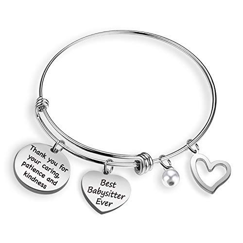 EIGSO Babysitter Appreciation Gifts Babysitter Bracelet Gift Thank You for Your Caring Best Babysitter Ever Thank You Gifts Nanny Gift Daycare Provider Gifts(Babysitter Ever BR)