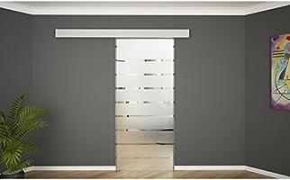 Puerta corredera de cristal cristal de puerta corredera puerta de cristal división de cubierta de aluminio 900 x 2050 raya concha: Amazon.es: Bricolaje y herramientas