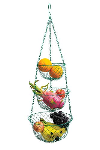 Fox Run 52103 Green 3Tier Kitchen Hanging Fruit Baskets 32 Inches