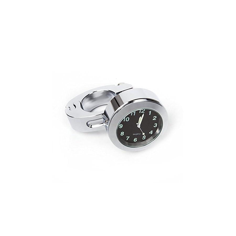 "Universal Waterproof Motorcycle Clock Bicycle Watch, EcoGehen 7/8"" or 1"" Motorbike Handlebar Dial Clock fits Yamaha/ Honda/Harley Davidson/Kawasaki/Suzuki//Street Bike"